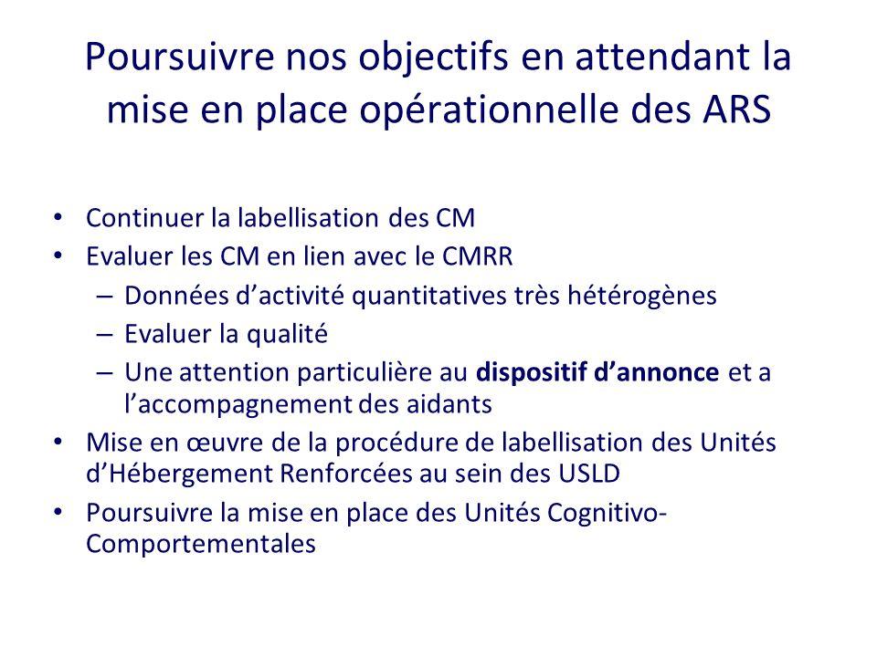 Poursuivre nos objectifs en attendant la mise en place opérationnelle des ARS Continuer la labellisation des CM Evaluer les CM en lien avec le CMRR –