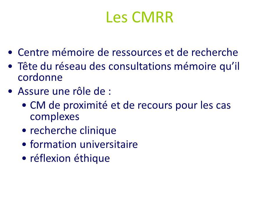 Les CMRR Centre mémoire de ressources et de recherche Tête du réseau des consultations mémoire quil cordonne Assure une rôle de : CM de proximité et d