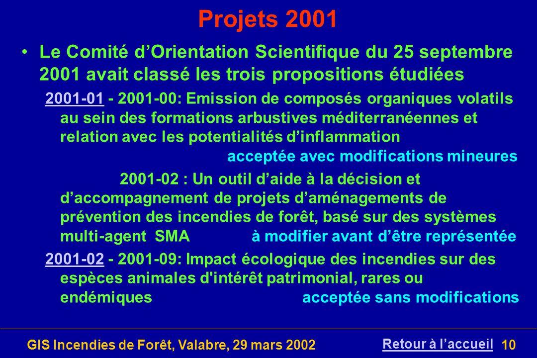 GIS Incendies de Forêt, Valabre, 29 mars 200210 Projets 2001 Le Comité dOrientation Scientifique du 25 septembre 2001 avait classé les trois propositi