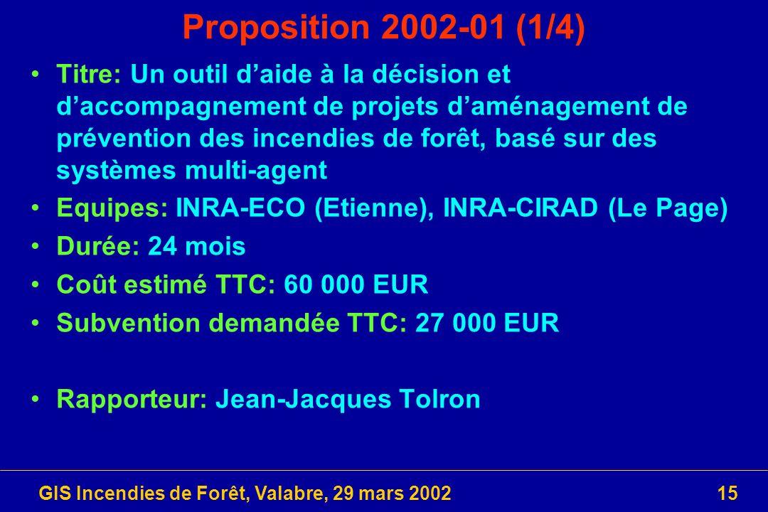 GIS Incendies de Forêt, Valabre, 29 mars 200215 Proposition 2002-01 (1/4) Titre: Un outil daide à la décision et daccompagnement de projets daménageme