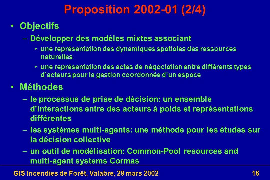 GIS Incendies de Forêt, Valabre, 29 mars 200216 Proposition 2002-01 (2/4) Objectifs –Développer des modèles mixtes associant une représentation des dy