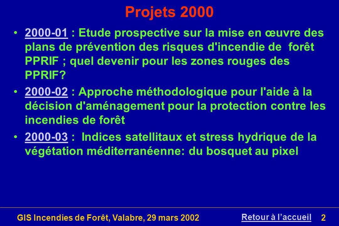 GIS Incendies de Forêt, Valabre, 29 mars 20023 Projet 2000-01 (1/5) Titre: Etude prospective sur la mise en œuvre des plans de prévention des risques d incendie de forêt PPRIF ; quel devenir pour les zones rouges des PPRIF.