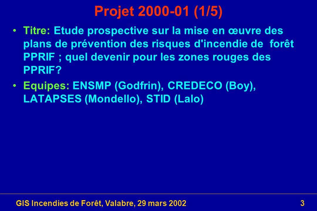 GIS Incendies de Forêt, Valabre, 29 mars 20023 Projet 2000-01 (1/5) Titre: Etude prospective sur la mise en œuvre des plans de prévention des risques