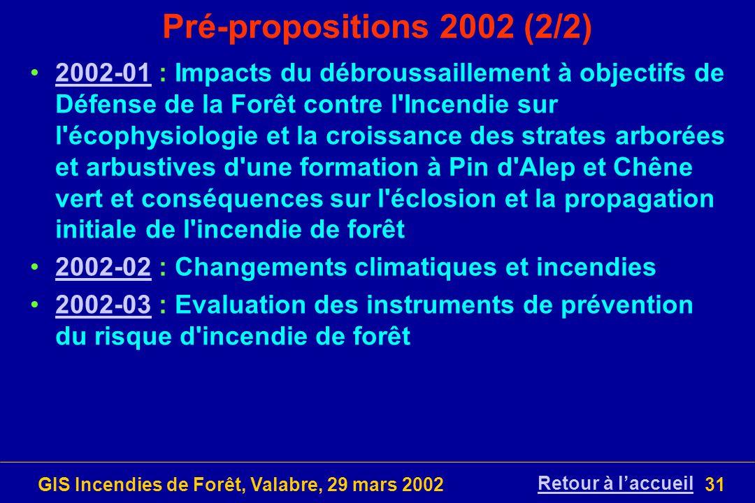 GIS Incendies de Forêt, Valabre, 29 mars 200231 Pré-propositions 2002 (2/2) 2002-01 : Impacts du débroussaillement à objectifs de Défense de la Forêt