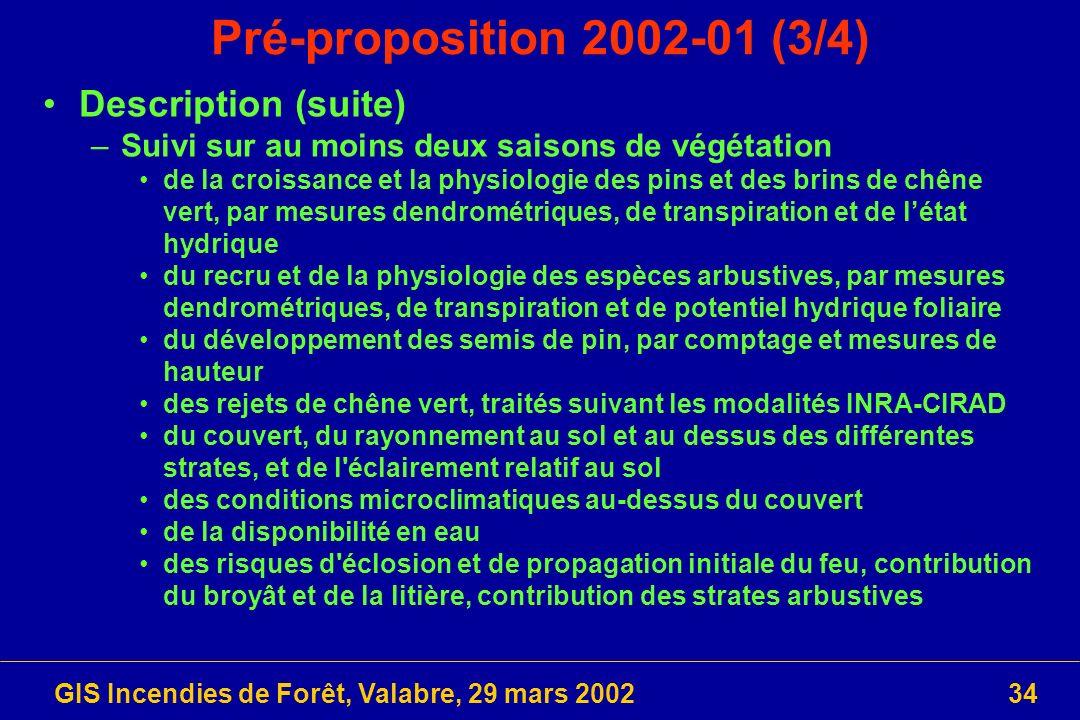 GIS Incendies de Forêt, Valabre, 29 mars 200234 Pré-proposition 2002-01 (3/4) Description (suite) –Suivi sur au moins deux saisons de végétation de la