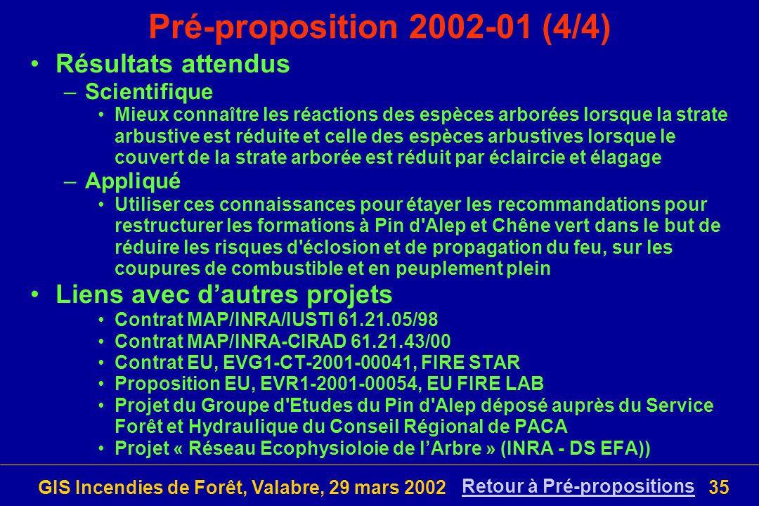 GIS Incendies de Forêt, Valabre, 29 mars 200235 Pré-proposition 2002-01 (4/4) Résultats attendus –Scientifique Mieux connaître les réactions des espèc