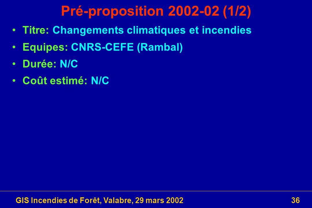 GIS Incendies de Forêt, Valabre, 29 mars 200236 Pré-proposition 2002-02 (1/2) Titre: Changements climatiques et incendies Equipes: CNRS-CEFE (Rambal)