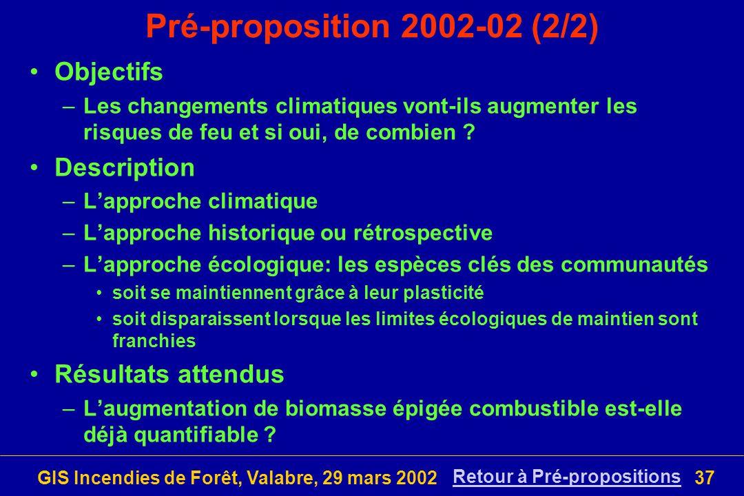 GIS Incendies de Forêt, Valabre, 29 mars 200237 Pré-proposition 2002-02 (2/2) Objectifs –Les changements climatiques vont-ils augmenter les risques de