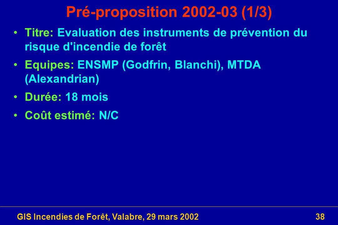 GIS Incendies de Forêt, Valabre, 29 mars 200238 Pré-proposition 2002-03 (1/3) Titre: Evaluation des instruments de prévention du risque d'incendie de