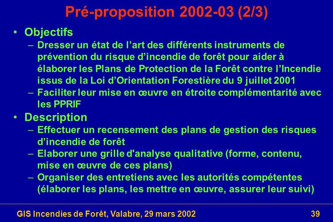 GIS Incendies de Forêt, Valabre, 29 mars 200239 Pré-proposition 2002-03 (2/3) Objectifs –Dresser un état de lart des différents instruments de prévent