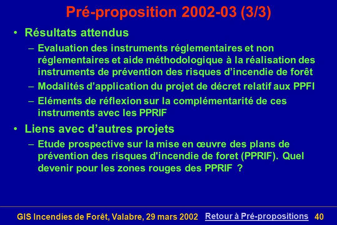 GIS Incendies de Forêt, Valabre, 29 mars 200240 Pré-proposition 2002-03 (3/3) Résultats attendus –Evaluation des instruments réglementaires et non rég