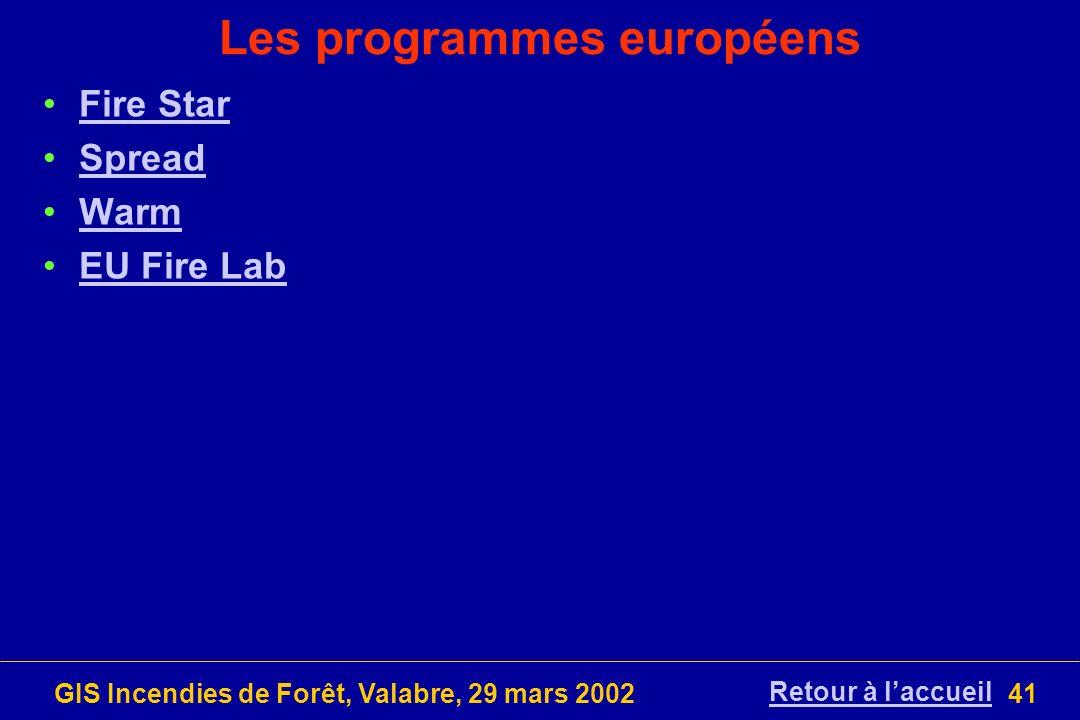 GIS Incendies de Forêt, Valabre, 29 mars 200241 Les programmes européens Fire Star Spread Warm EU Fire Lab Retour à laccueil