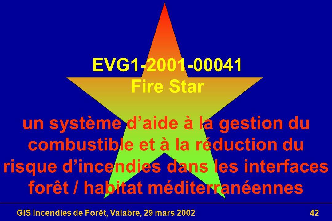 GIS Incendies de Forêt, Valabre, 29 mars 200242 EVG1-2001-00041 Fire Star un système daide à la gestion du combustible et à la réduction du risque din