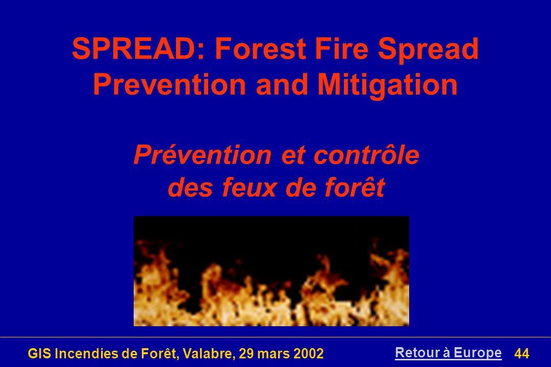 GIS Incendies de Forêt, Valabre, 29 mars 200244 SPREAD: Forest Fire Spread Prevention and Mitigation Prévention et contrôle des feux de forêt Retour à