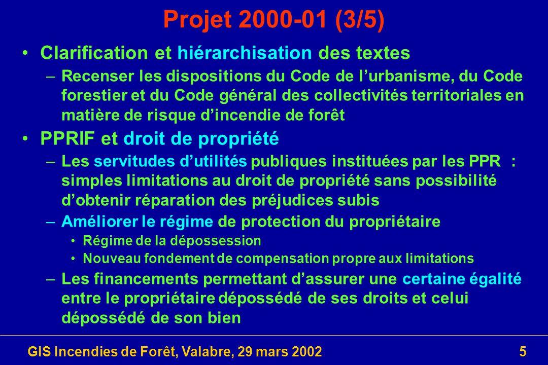 GIS Incendies de Forêt, Valabre, 29 mars 20025 Projet 2000-01 (3/5) Clarification et hiérarchisation des textes –Recenser les dispositions du Code de