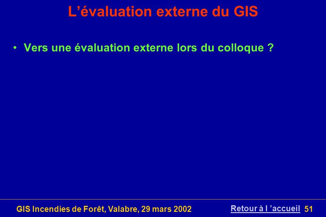 GIS Incendies de Forêt, Valabre, 29 mars 200251 Lévaluation externe du GIS Vers une évaluation externe lors du colloque ? Retour à l accueil