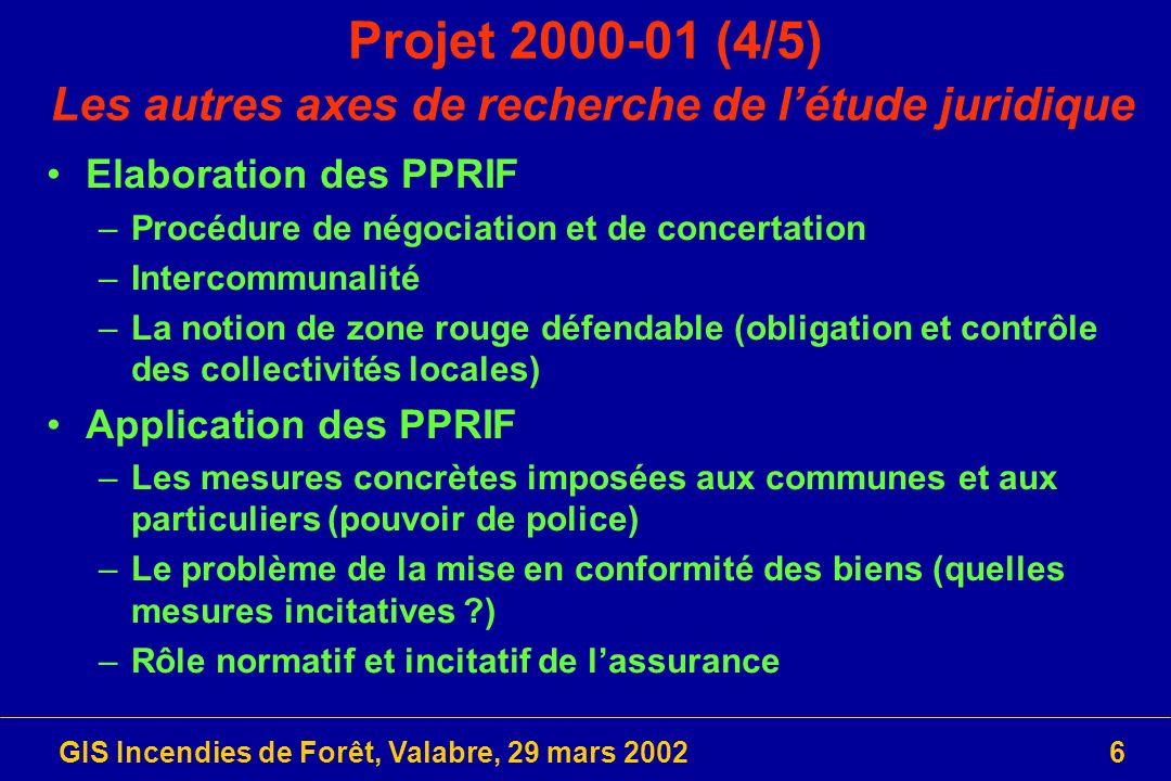 GIS Incendies de Forêt, Valabre, 29 mars 20027 Projet 2000-01 (5/5) Les axes de recherche de létude économique Estimation des dommages potentiels dans les zones à risque –Démarche « assurantielle » en vue de contrebalancer les nuisances et inconvénients liés à linstauration dun PPRIF et les conséquences probables de la survenue dun sinistre Létude intègre deux dimensions –Evaluer les effets de ladoption des mesures concernées –Définir les instruments destinés à gérer les risques Trois directions guide la démarche –Appliquer le principe de précaution –Mettre en œuvre des mesures de prévention –Compenser les dommages subis Retour à Projets 2000