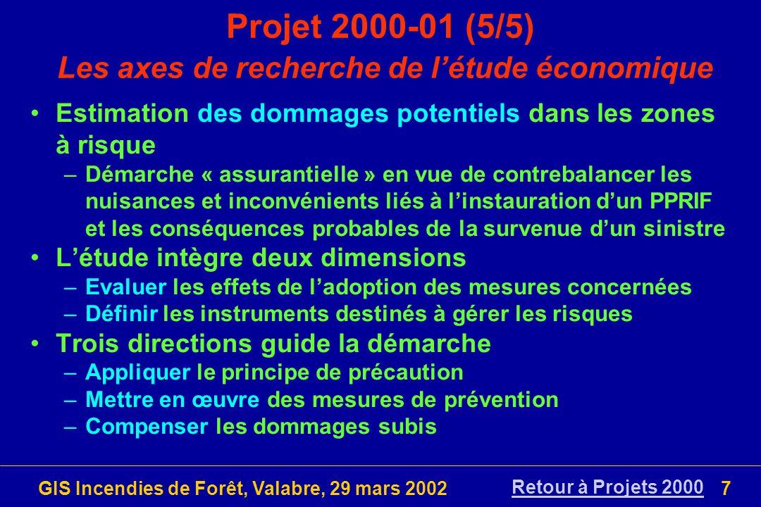 GIS Incendies de Forêt, Valabre, 29 mars 200238 Pré-proposition 2002-03 (1/3) Titre: Evaluation des instruments de prévention du risque d incendie de forêt Equipes: ENSMP (Godfrin, Blanchi), MTDA (Alexandrian) Durée: 18 mois Coût estimé: N/C