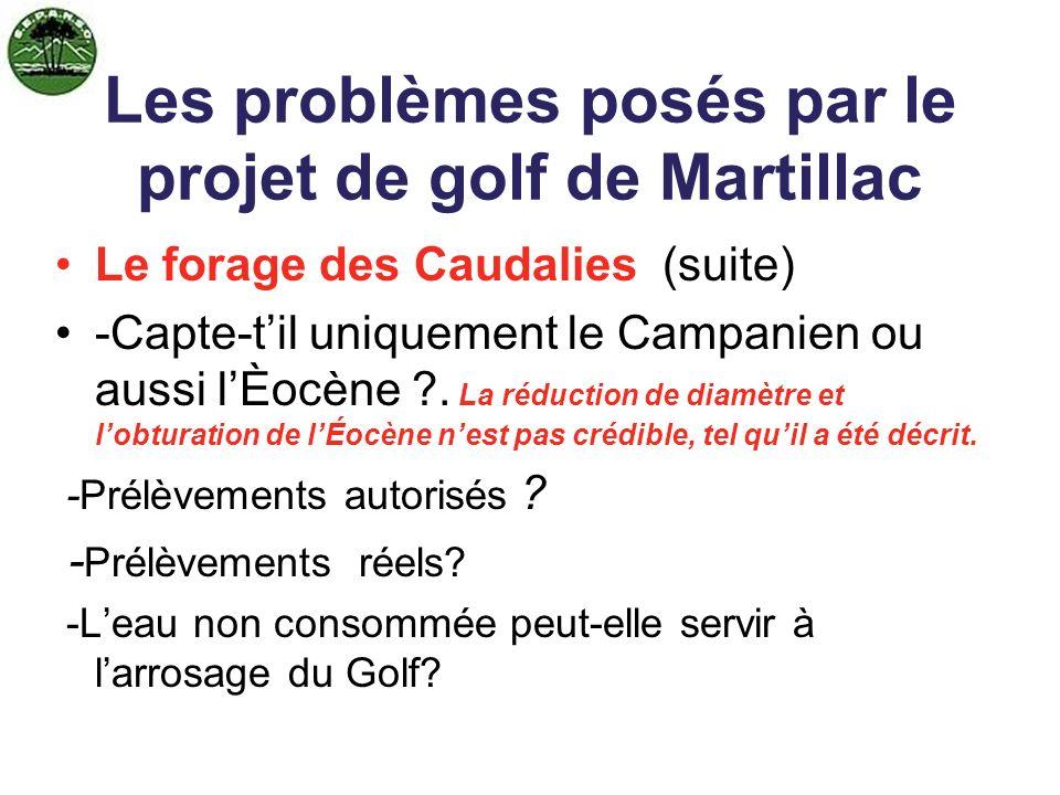 La baisse préoccupante de lÉocène dans le secteur Les problèmes posés par le projet de golf de Martillac