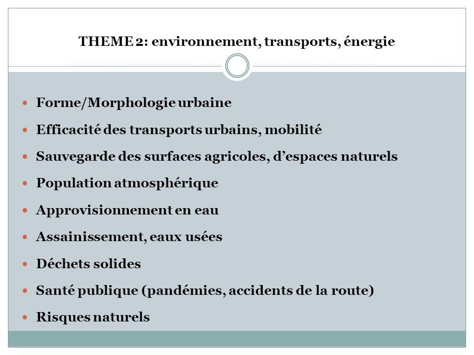 THEME 2: environnement, transports, énergie * Dans la perspective « post-pétrole », les villes doivent investir dans la qualité environnementale et le