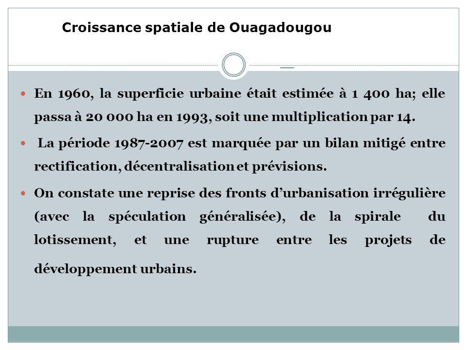 _ En 1960, la superficie urbaine était estimée à 1 400 ha; elle passa à 20 000 ha en 1993, soit une multiplication par 14.