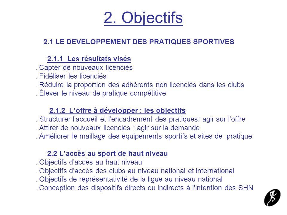 2. Objectifs 2.1 LE DEVELOPPEMENT DES PRATIQUES SPORTIVES 2.1.1 Les résultats visés. Capter de nouveaux licenciés. Fidéliser les licenciés. Réduire la