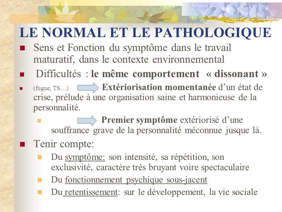 LE NORMAL ET LE PATHOLOGIQUE Sens et Fonction du symptôme dans le travail maturatif, dans le contexte environnemental Difficultés : le même comporteme