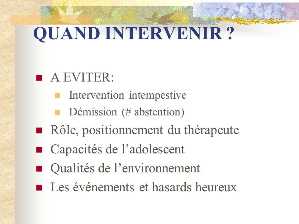 QUAND INTERVENIR ? A EVITER: Intervention intempestive Démission (# abstention) Rôle, positionnement du thérapeute Capacités de ladolescent Qualités d