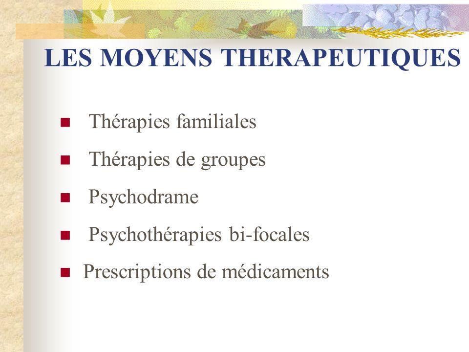 LES MOYENS THERAPEUTIQUES Thérapies familiales Thérapies de groupes Psychodrame Psychothérapies bi-focales Prescriptions de médicaments