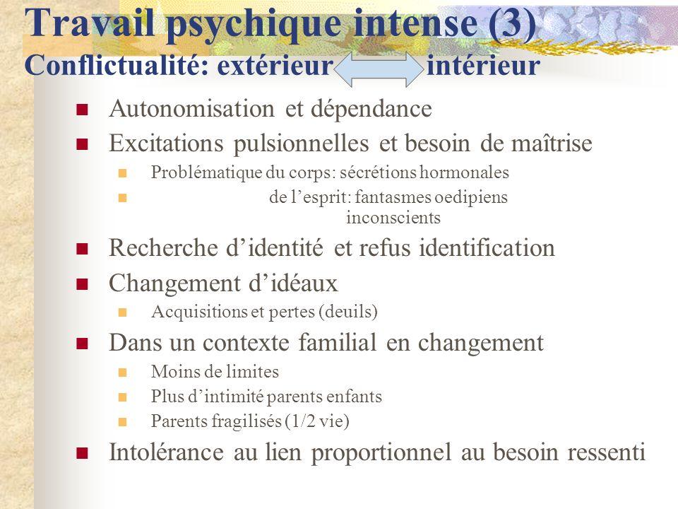 Travail psychique intense (3) Conflictualité: extérieur intérieur Autonomisation et dépendance Excitations pulsionnelles et besoin de maîtrise Problém