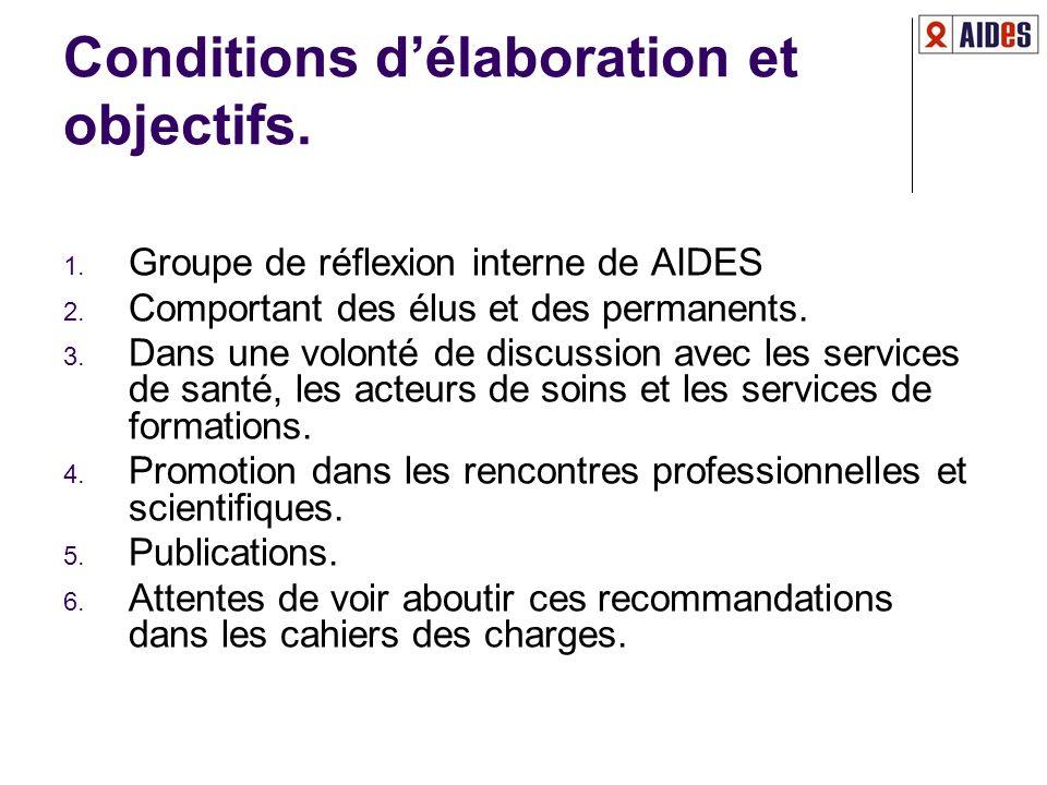 Conditions délaboration et objectifs. 1. Groupe de réflexion interne de AIDES 2. Comportant des élus et des permanents. 3. Dans une volonté de discuss