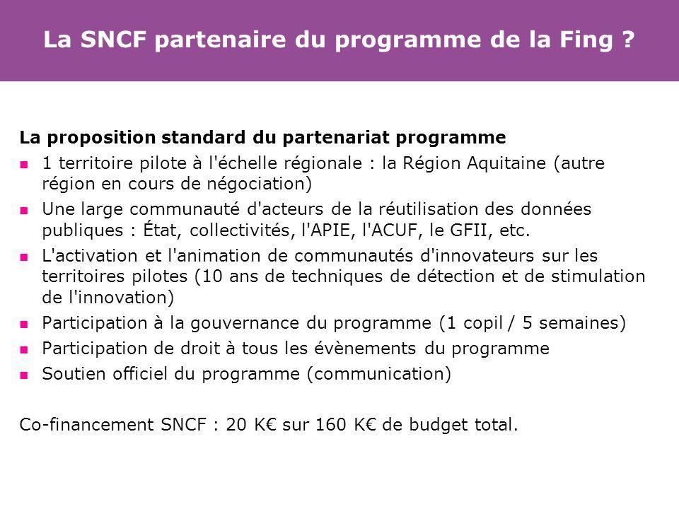 La SNCF partenaire du programme de la Fing ? La proposition standard du partenariat programme 1 territoire pilote à l'échelle régionale : la Région Aq