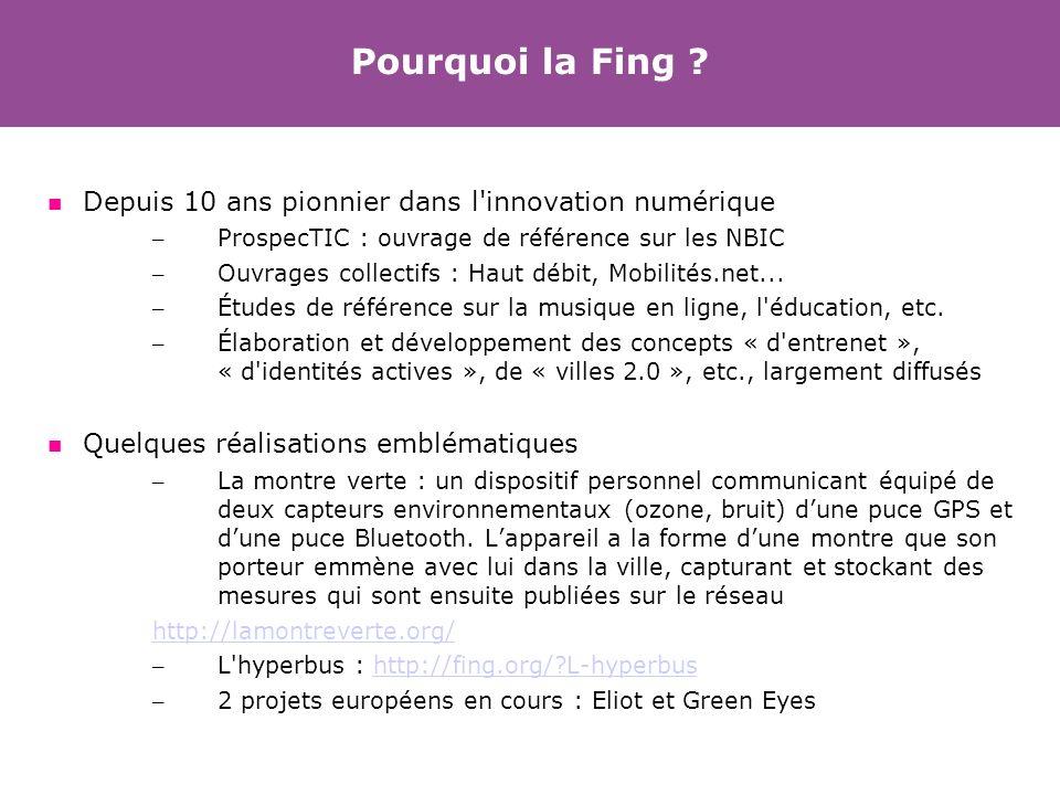 Pourquoi la Fing ? Depuis 10 ans pionnier dans l'innovation numérique – ProspecTIC : ouvrage de référence sur les NBIC – Ouvrages collectifs : Haut dé