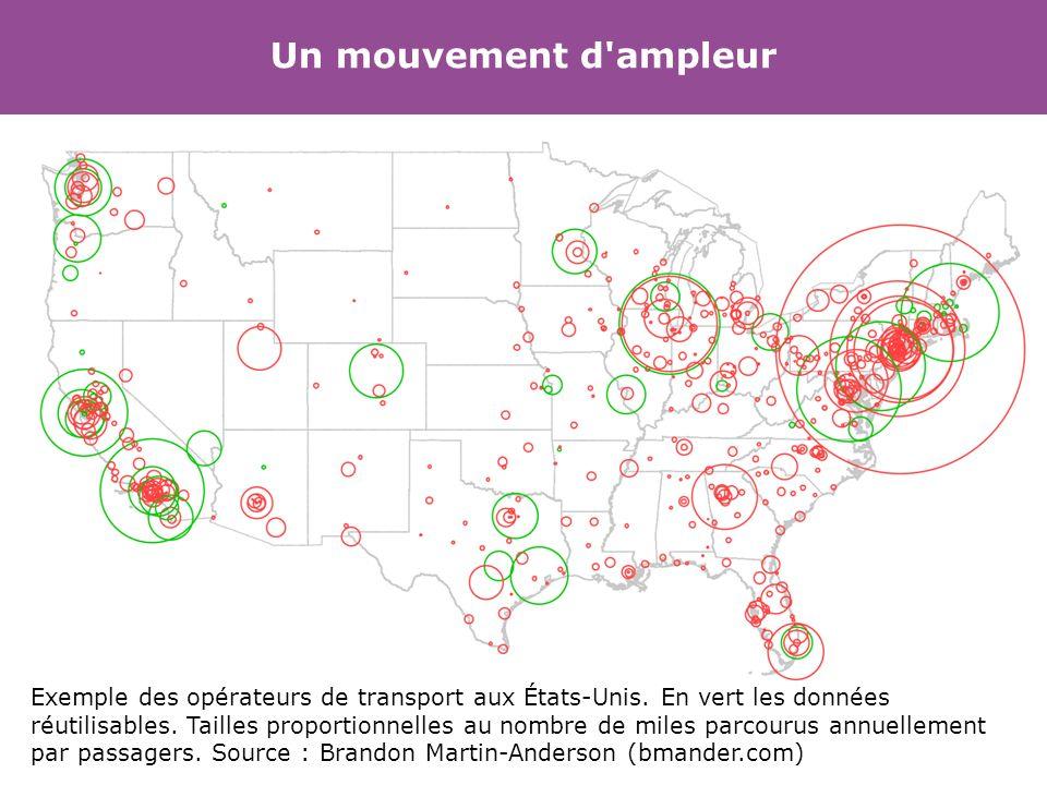 Un mouvement d'ampleur Exemple des opérateurs de transport aux États-Unis. En vert les données réutilisables. Tailles proportionnelles au nombre de mi
