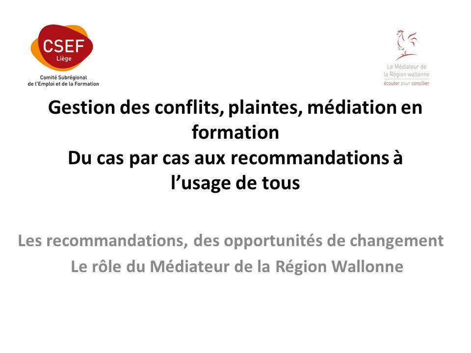 Gestion des conflits, plaintes, médiation en formation Du cas par cas aux recommandations à lusage de tous Les recommandations, des opportunités de changement Le rôle du Médiateur de la Région Wallonne
