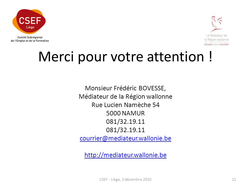 Merci pour votre attention ! Monsieur Frédéric BOVESSE, Médiateur de la Région wallonne Rue Lucien Namèche 54 5000 NAMUR 081/32.19.11 081/32.19.11 cou