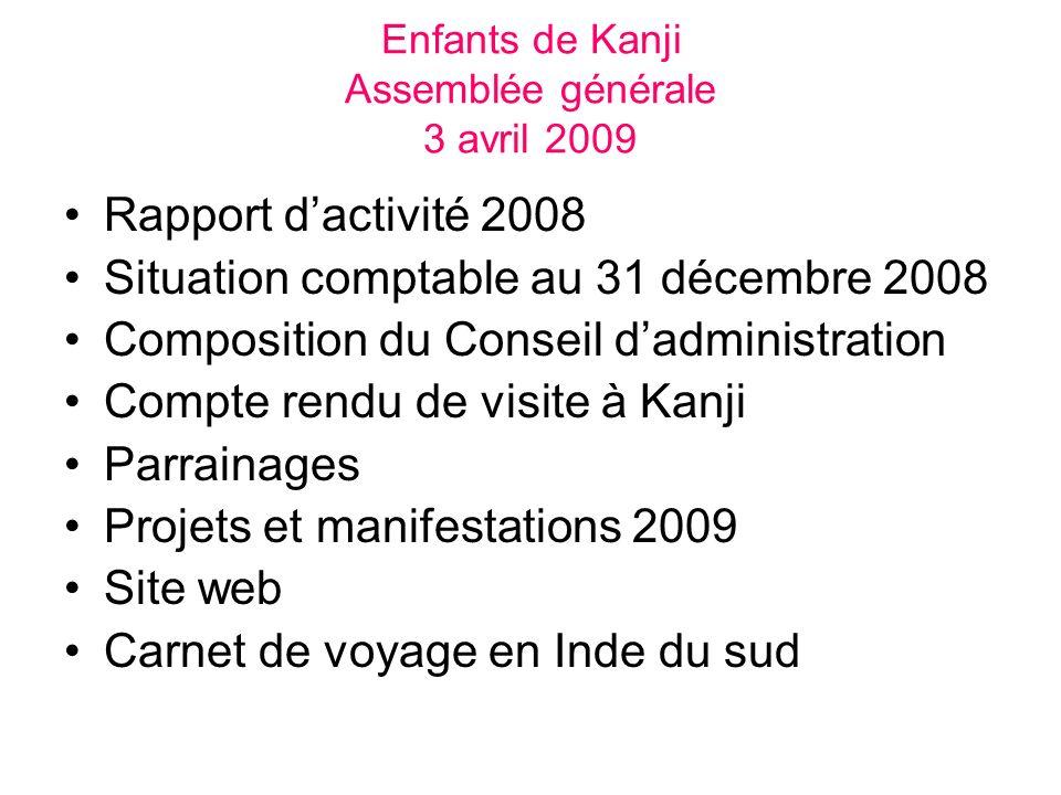 Enfants de Kanji Assemblée générale 3 avril 2009 Rapport dactivité 2008 Situation comptable au 31 décembre 2008 Composition du Conseil dadministration