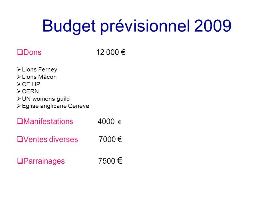 Budget prévisionnel 2009 Dons 12 000 Lions Ferney Lions Mâcon CE HP CERN UN womens guild Eglise anglicane Genève Manifestations 4000 Ventes diverses 7