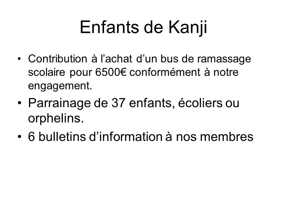 Enfants de Kanji Contribution à lachat dun bus de ramassage scolaire pour 6500 conformément à notre engagement. Parrainage de 37 enfants, écoliers ou