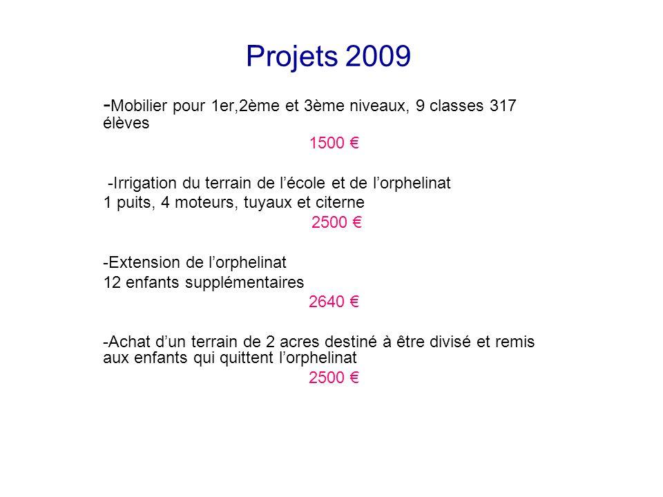 Projets 2009 - Mobilier pour 1er,2ème et 3ème niveaux, 9 classes 317 élèves 1500 -Irrigation du terrain de lécole et de lorphelinat 1 puits, 4 moteurs
