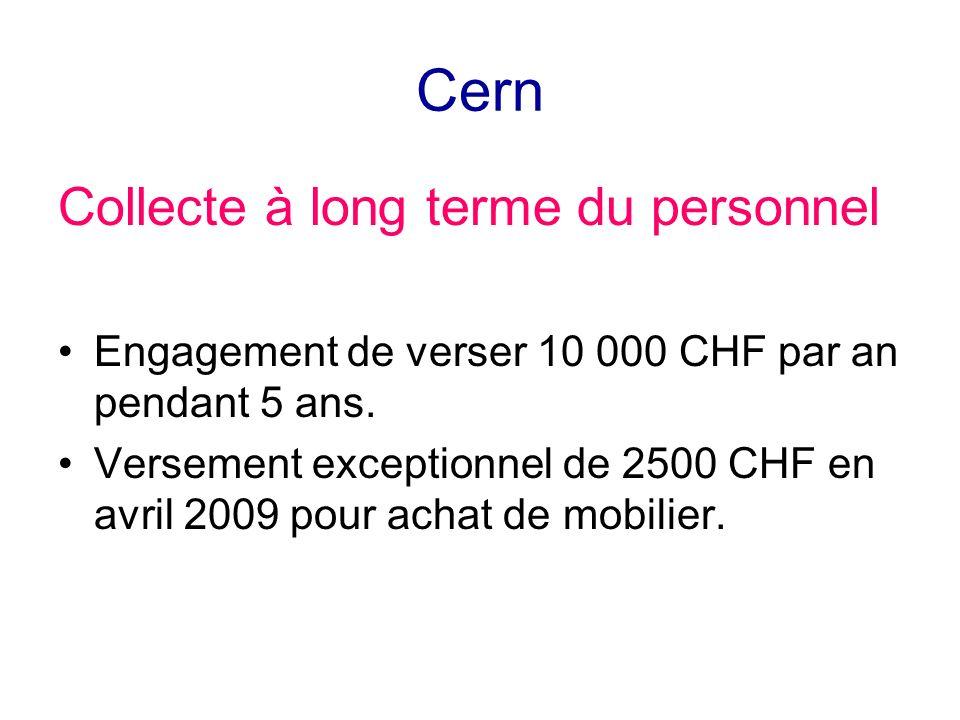 Cern Collecte à long terme du personnel Engagement de verser 10 000 CHF par an pendant 5 ans. Versement exceptionnel de 2500 CHF en avril 2009 pour ac