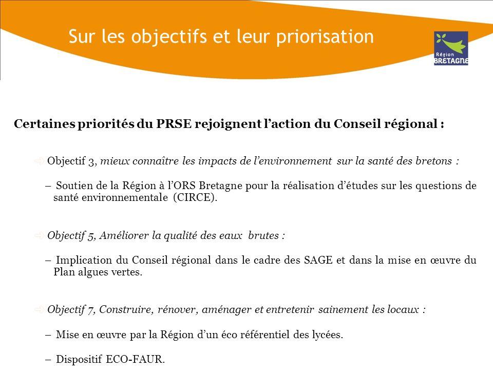 Certaines priorités du PRSE rejoignent laction du Conseil régional (2) : Objectif 10, Réduire la production et améliorer la collecte et le traitement des déchets toxiques diffus.