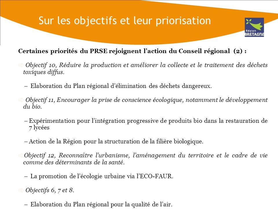 Mais la priorisation des objectifs du PRSE doit être interrogée : La concertation préalable des partenaires régionaux (ateliers) nest pas représentative de lopinion de la population bretonne.