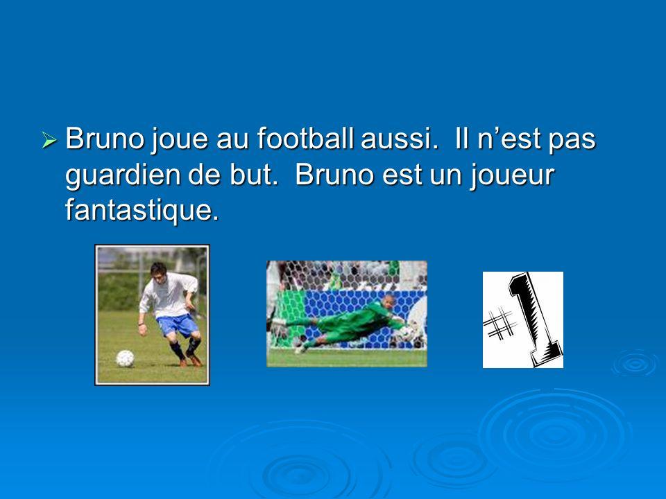 Bruno joue au football aussi. Il nest pas guardien de but. Bruno est un joueur fantastique. Bruno joue au football aussi. Il nest pas guardien de but.
