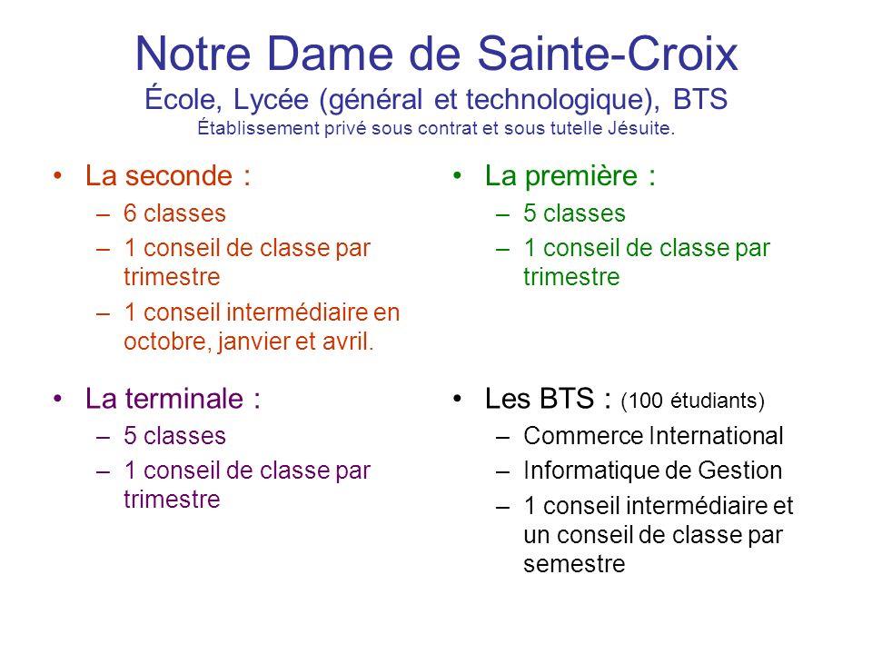 Notre Dame de Sainte-Croix École, Lycée (général et technologique), BTS Établissement privé sous contrat et sous tutelle Jésuite. La seconde : –6 clas