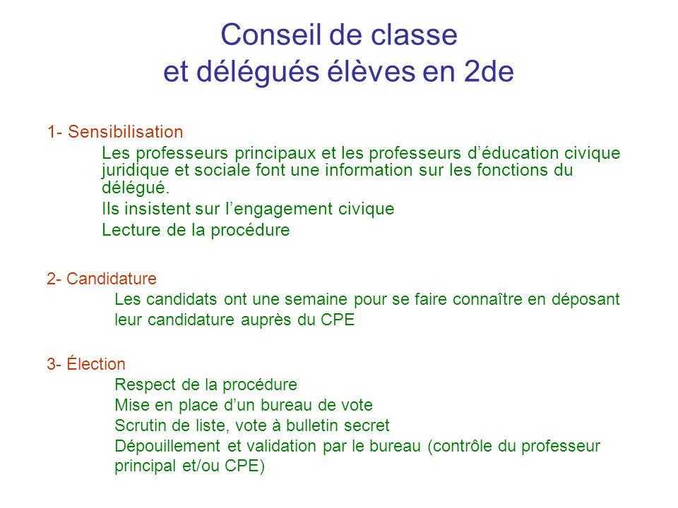 Conseil de classe et délégués élèves en 2de 1- Sensibilisation Les professeurs principaux et les professeurs déducation civique juridique et sociale f