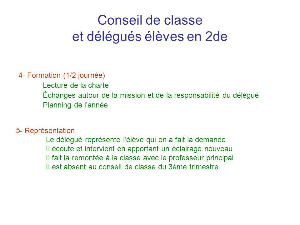 Conseil de classe et délégués élèves en 2de 4- Formation (1/2 journée) Lecture de la charte Échanges autour de la mission et de la responsabilité du d