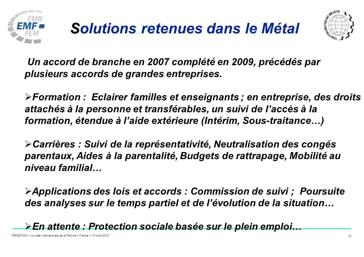 FEM&FIOM – Journée Internationale de la Femme – France – 10 mars 2010 12 S Solutions retenues dans le Métal Un accord de branche en 2007 complété en 2