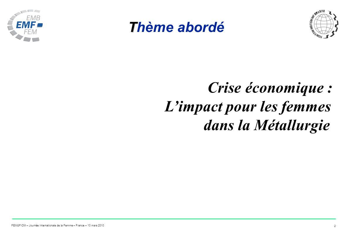 FEM&FIOM – Journée Internationale de la Femme – France – 10 mars 2010 2 T Thème abordé Crise économique : Limpact pour les femmes dans la Métallurgie