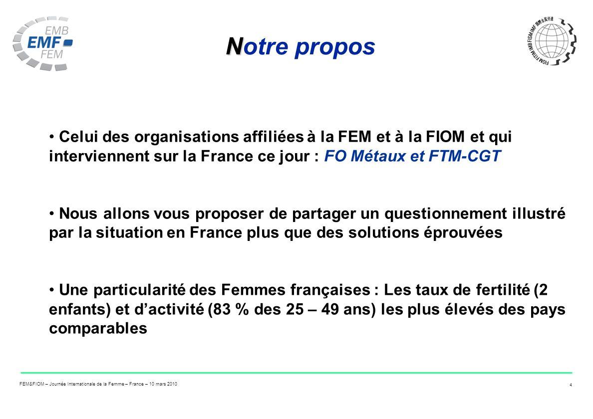 FEM&FIOM – Journée Internationale de la Femme – France – 10 mars 2010 4 N Notre propos Celui des organisations affiliées à la FEM et à la FIOM et qui